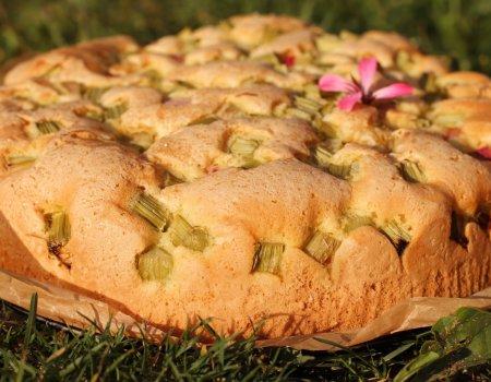 Błyskawiczne i puszyste ciasto z rabarbarem