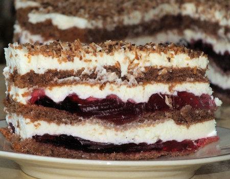 Ciasto tortowe z masą śmietankowo-serową i galaretką
