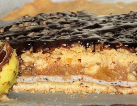 Kruche ciasto z masą jabłkowo-dyniową i słonecznikiem
