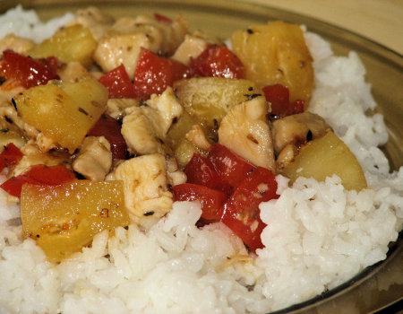 Kurczak na słodko-kwaśno z ryżem