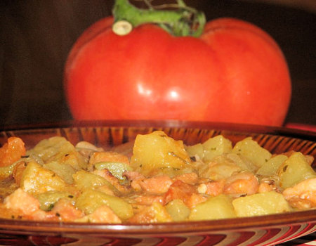 Leczo z boczkiem i pomidorami