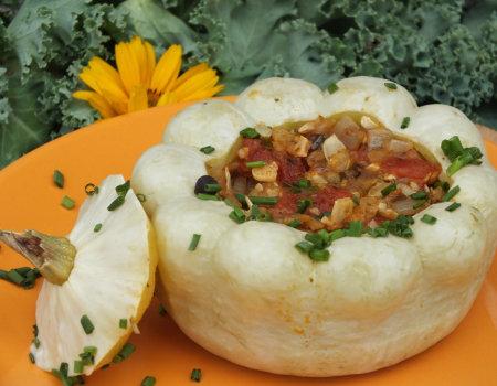 Patisony z wegetariańskim farszem