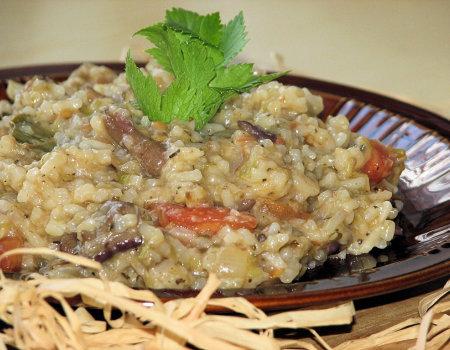 Potrawka ryżowa z grzybami