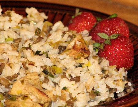 Potrawka ryżowa z kurczakiem i słonecznikiem