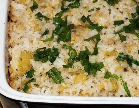 Ryż zapiekany z dynią i żółtym serem
