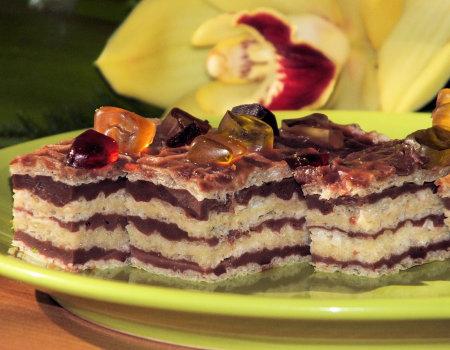 Wafle przekładane cytrynową i czekoladową masą