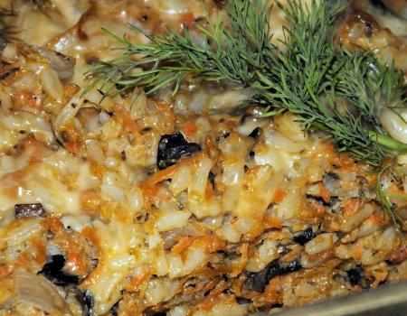 Zapiekanka ryżowa z pieczarkami – wersja dla wegetarian