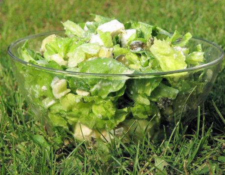 Zielona sałata w towarzystwie sera Feta i papryki stożkowej