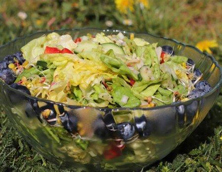 Zielona sałatka z dodatkiem owoców do grilla