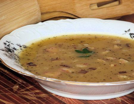 Ziemniaczana zupa z dynią i wędzonym boczkiem
