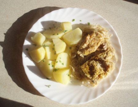 Filet z kurczaka zapiekany z kiszona kapustą