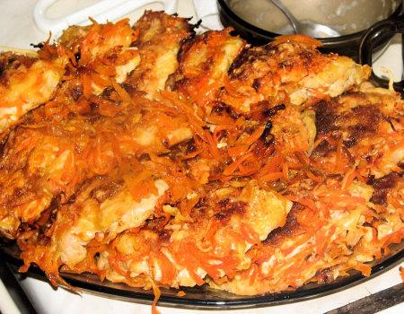 Filety z kurczaka przekładane marchewką