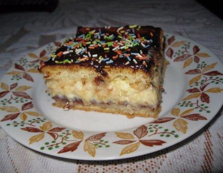 Ciasto biszkoptowe z kremem budyniowo - ananasowym