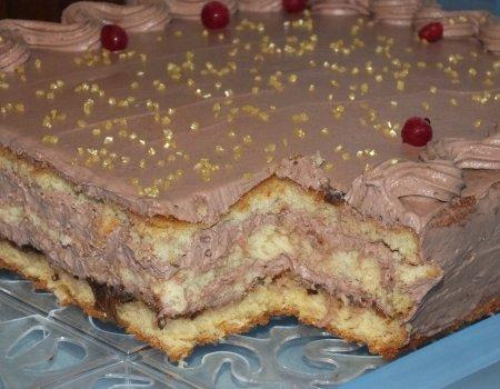 Kwadratowy torcik z kremem czekoladowym