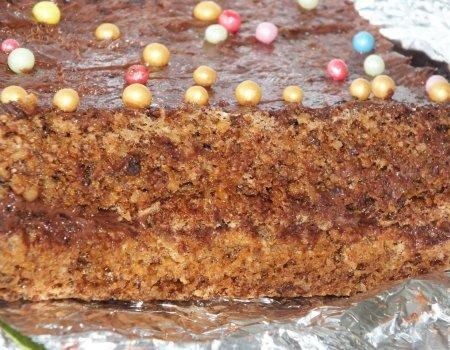 Mocno orzechowe ciasto z kremem czekoladowym
