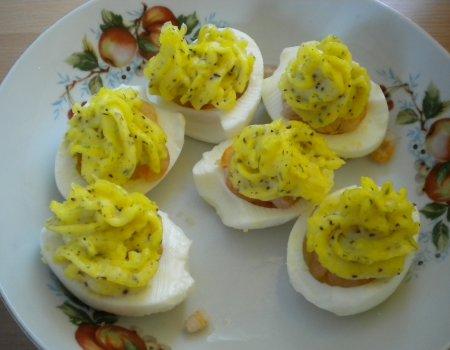 Jajka z krewetkami
