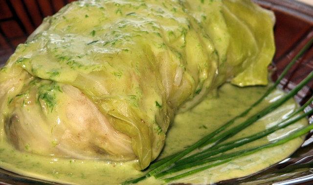 Gołąbki z wątróbką w szczypiorkowym sosie