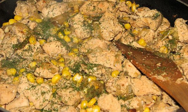 Potrawka z indyka i kukurydzy