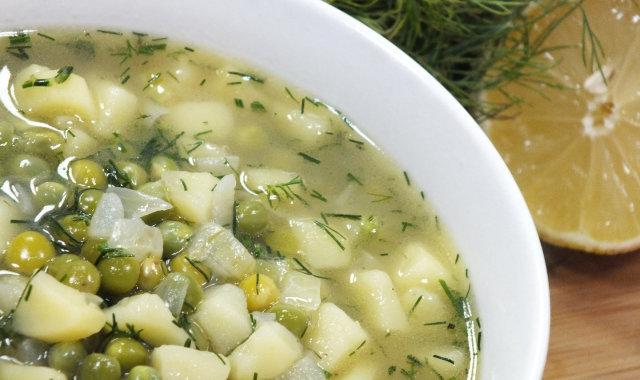 Zupa ziemniaczana z zielonym groszkiem i koperkiem