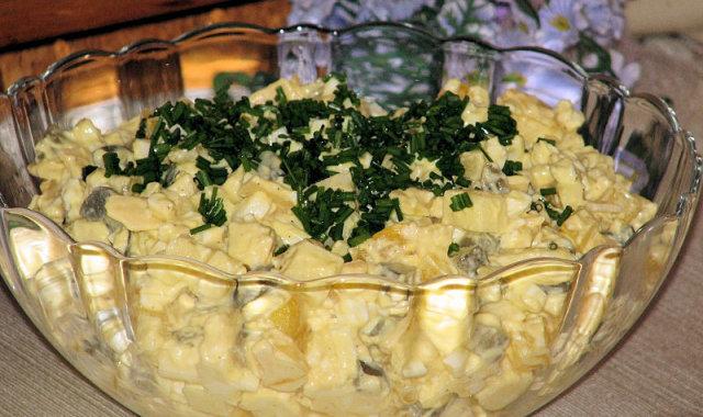 Paprykowa sałatka z kiszonymi ogórkami