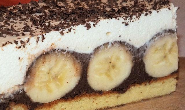 Czekoladowo-bananowe ciasto na biszkopcie