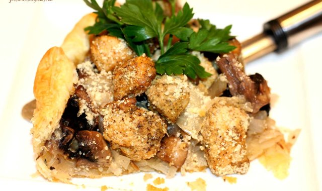 Tarta z kiszoną kapustą i kurczakiem