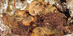 Kaszanka z pieczarkami z grilla