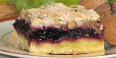 Kruche ciasto z masą owocową i orzechową