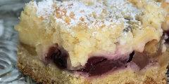 Kruche ciasto z mas� jab�kowo-czere�niow� i budyniem