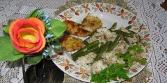 Ryż z zieloną fasolką i pieczarkami